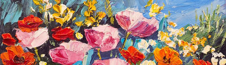 A painting of yellow, red and pink flowers in a field